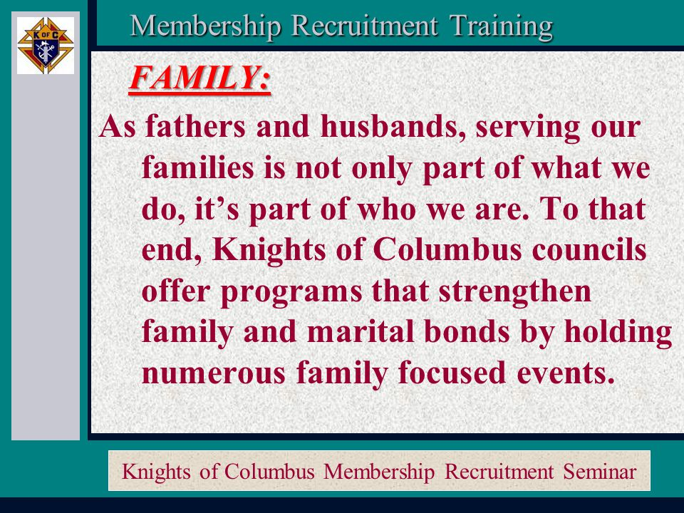 Knights of Columbus Membership Recruitment Seminar Membership Recruitment Activity Planner Membership Recruitment Activity Planner Membership Recruitment Training Membership Recruitment Training