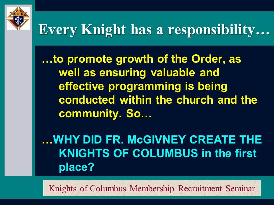 Knights of Columbus Membership Recruitment Seminar Membership Recruitment Activity Planner Membership Recruitment Activity Planner Membership Recruitment Training How do we Recruit.