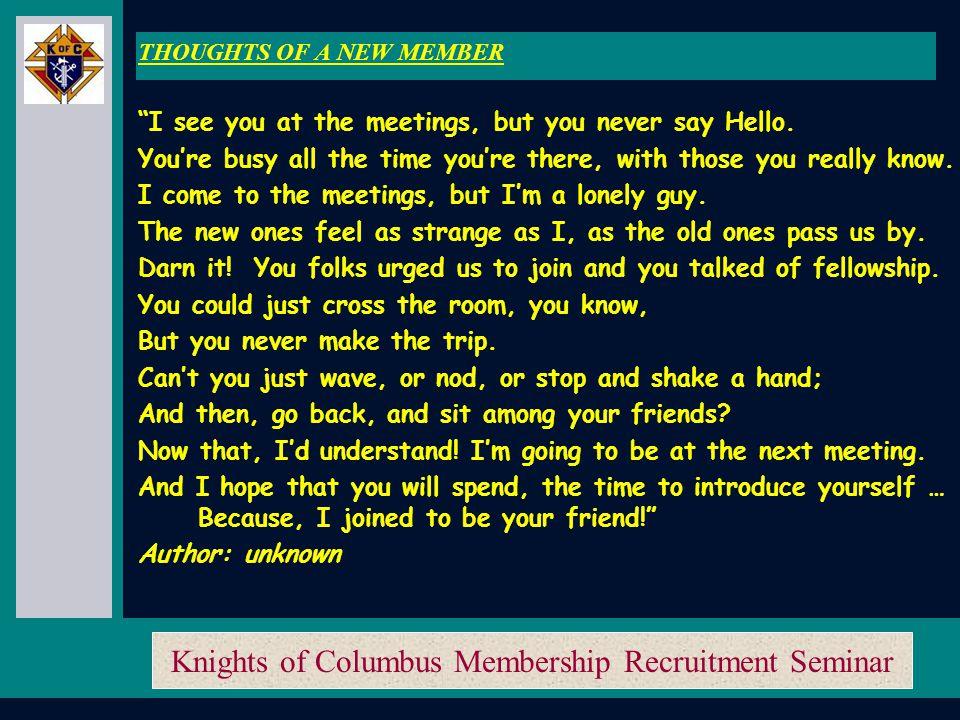 Knights of Columbus Membership Recruitment Seminar Membership Recruitment Training Membership Recruitment Training
