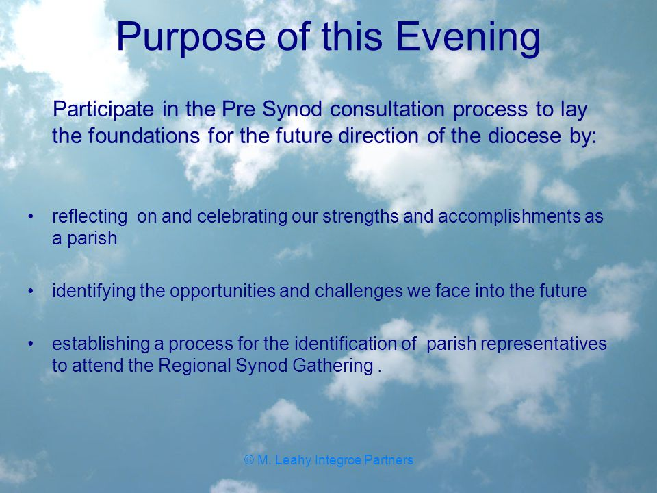 Purpose of this Evening Participate in the Pre Synod consultation process to lay the foundations for the future direction of the diocese by: reflecting on and celebrating our strengths and accomplishments as a parish identifying the opportunities and challenges we face into the future establishing a process for the identification of parish representatives to attend the Regional Synod Gathering.