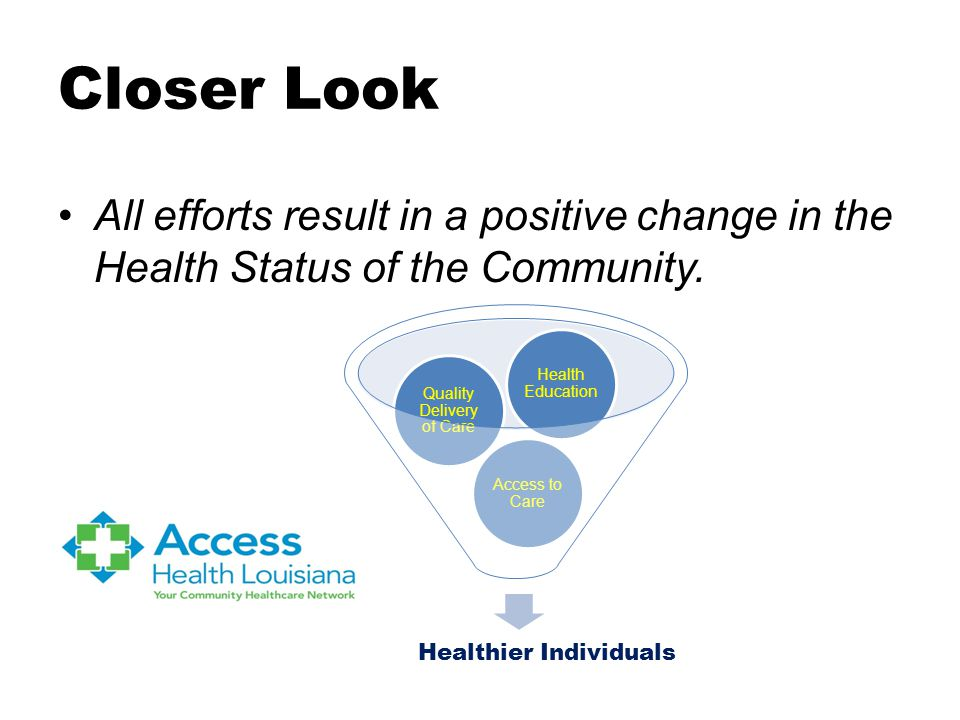 Closer Look All efforts result in a positive change in the Health Status of the Community.