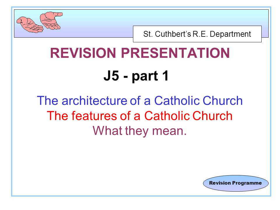 St.Cuthbert's R.E. Department Revision Programme Should all Christians worship together.