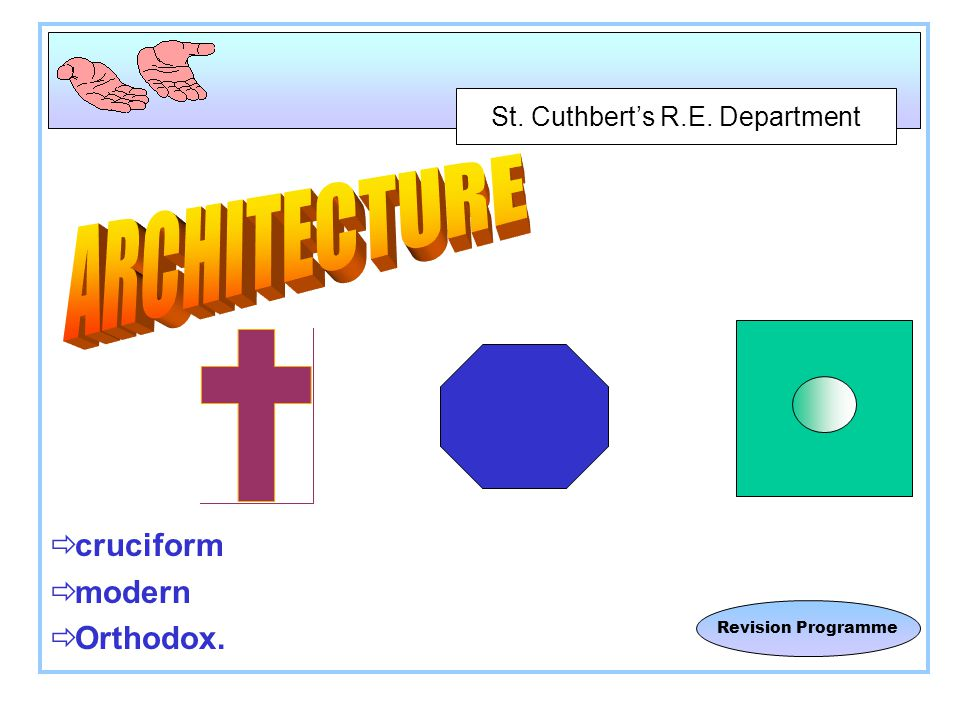 St. Cuthbert's R.E. Department Revision Programme  cruciform  modern  Orthodox.