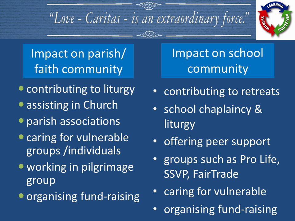 contributing to liturgy assisting in Church parish associations caring for vulnerable groups /individuals working in pilgrimage group organising fund-raising contributing to retreats school chaplaincy & liturgy offering peer support groups such as Pro Life, SSVP, FairTrade caring for vulnerable organising fund-raising Impact on parish/ faith community Impact on school community