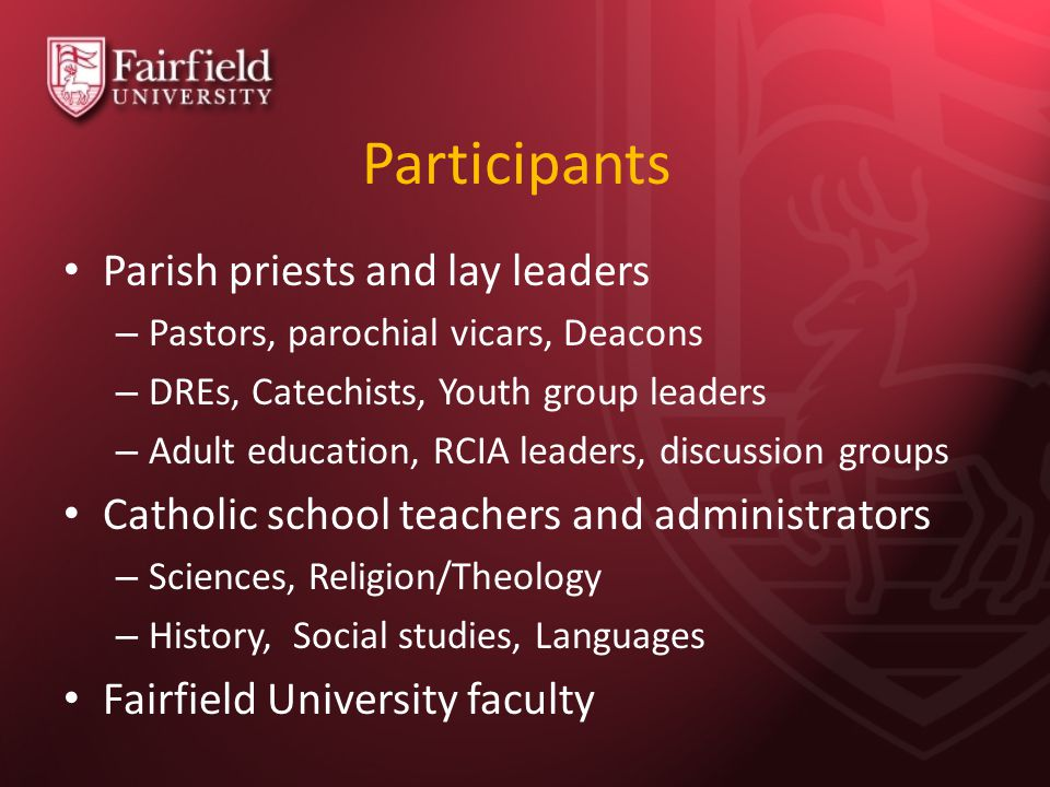 Participants Parish priests and lay leaders – Pastors, parochial vicars, Deacons – DREs, Catechists, Youth group leaders – Adult education, RCIA leade