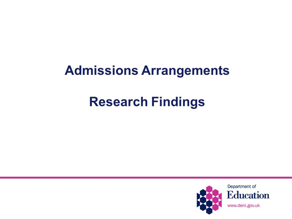 Admissions Arrangements Research Findings