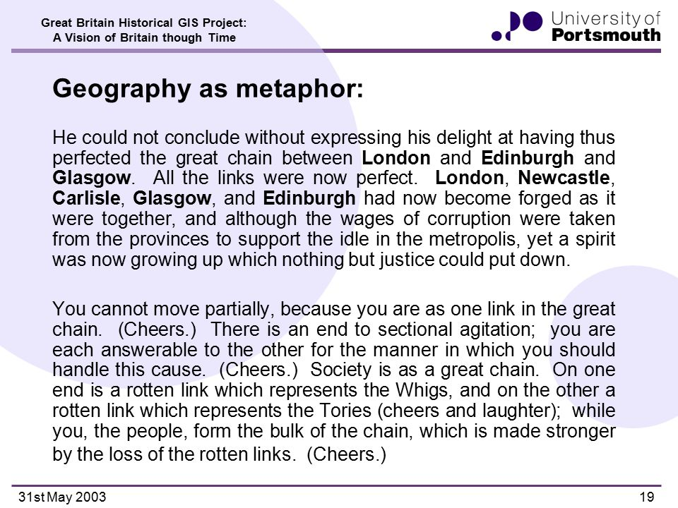 Great Britain Historical GIS Project: A Vision of Britain though Time 31st May 200319 Geography as metaphor: He could not conclude without expressing his delight at having thus perfected the great chain between London and Edinburgh and Glasgow.