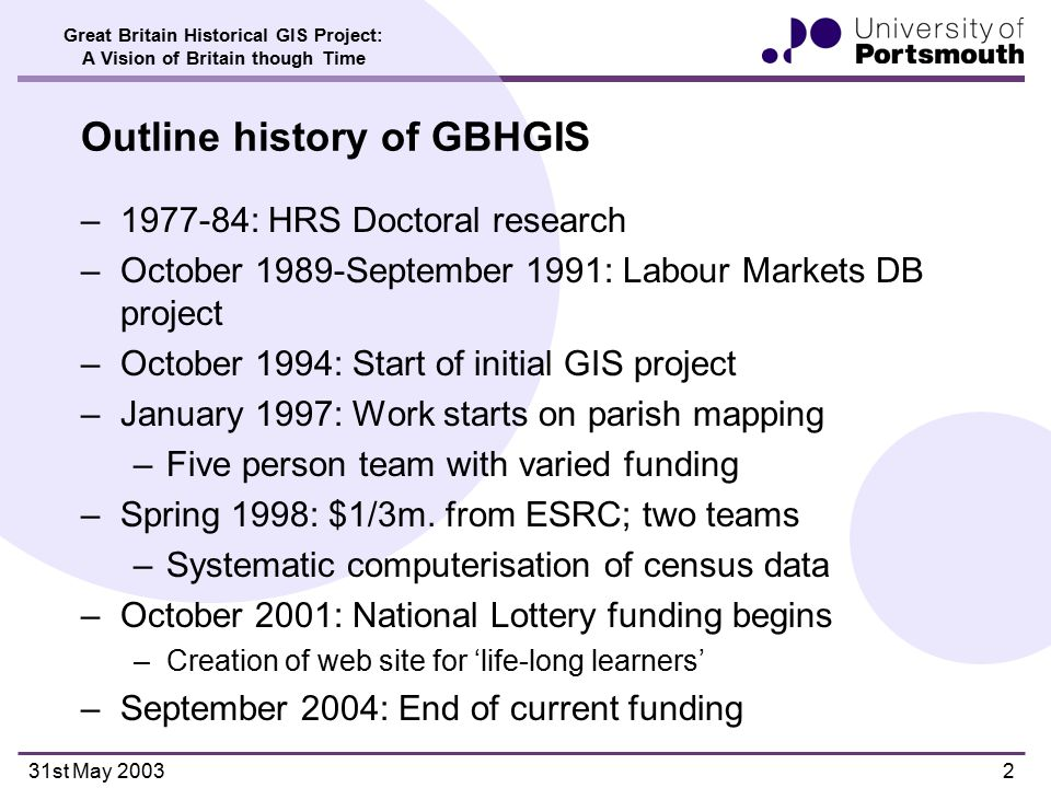 Great Britain Historical GIS Project: A Vision of Britain though Time 31st May 20032 Outline history of GBHGIS –1977-84: HRS Doctoral research –October 1989-September 1991: Labour Markets DB project –October 1994: Start of initial GIS project –January 1997: Work starts on parish mapping –Five person team with varied funding –Spring 1998: $1/3m.