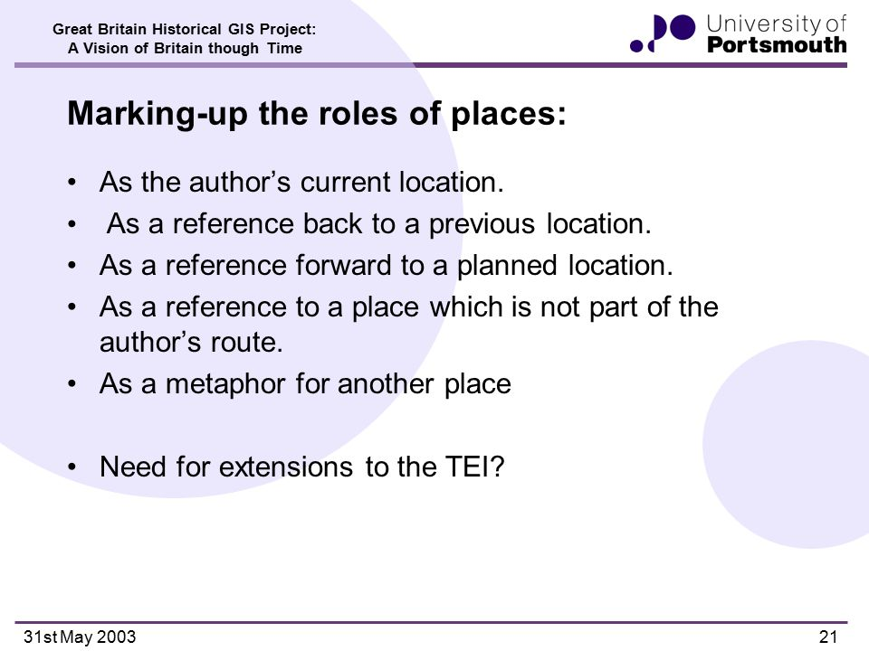 Great Britain Historical GIS Project: A Vision of Britain though Time 31st May 200321 Marking-up the roles of places: As the author's current location.