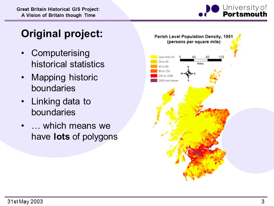 Great Britain Historical GIS Project: A Vision of Britain though Time 31st May 200314 Approaches to mark-up Schemes based on the Text Encoding Initiative Guidelines (www.tei-c.org) the only game in town, but:www.tei-c.org TEI Lite' defined by the TEI itself –'a manageable subset of full TEI encoding scheme' –only place-name tagging is for place of publication American Memory DTD –Developed by Library of Congress to mark up historical texts within American Memory system –AMS DTD excludes geographical and place-name tags –Introduction to DTD: 'it is too expensive to identify geographic names' Minnesota Women's Travel Writing Project DTD –Adds interpretative information on ethnicity, gender marking, transportation and women's occupations –Do not tag place-names or geographic features