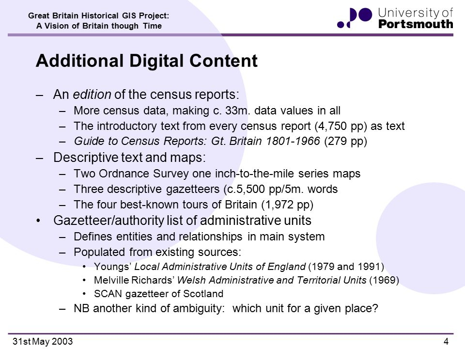 Great Britain Historical GIS Project: A Vision of Britain though Time 31st May 20035 Sources: Youngs' Local Administrat- ive Units of England