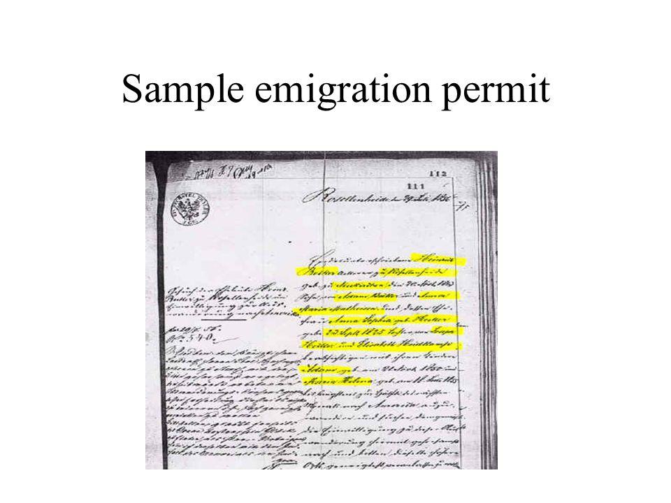 Sample emigration permit