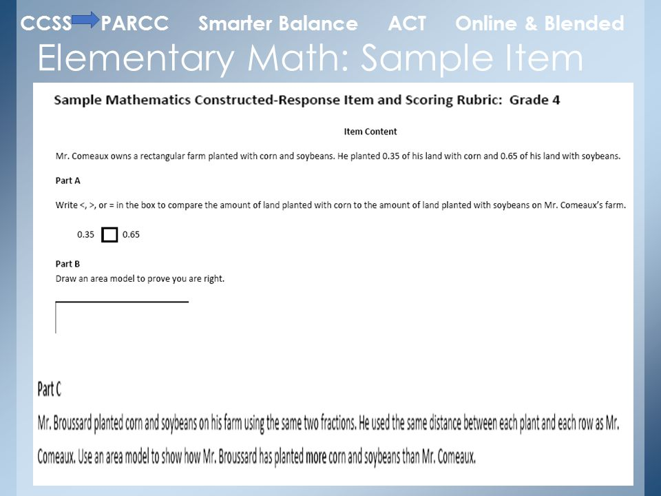 Elementary Math: Sample Item CCSS PARCC Smarter Balance ACT Online & Blended