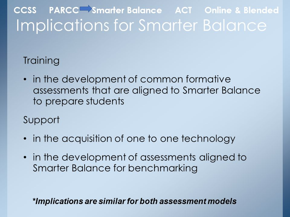 Training in the development of common formative assessments that are aligned to Smarter Balance to prepare students Support in the acquisition of one to one technology in the development of assessments aligned to Smarter Balance for benchmarking Implications for Smarter Balance *Implications are similar for both assessment models CCSS PARCC Smarter Balance ACT Online & Blended