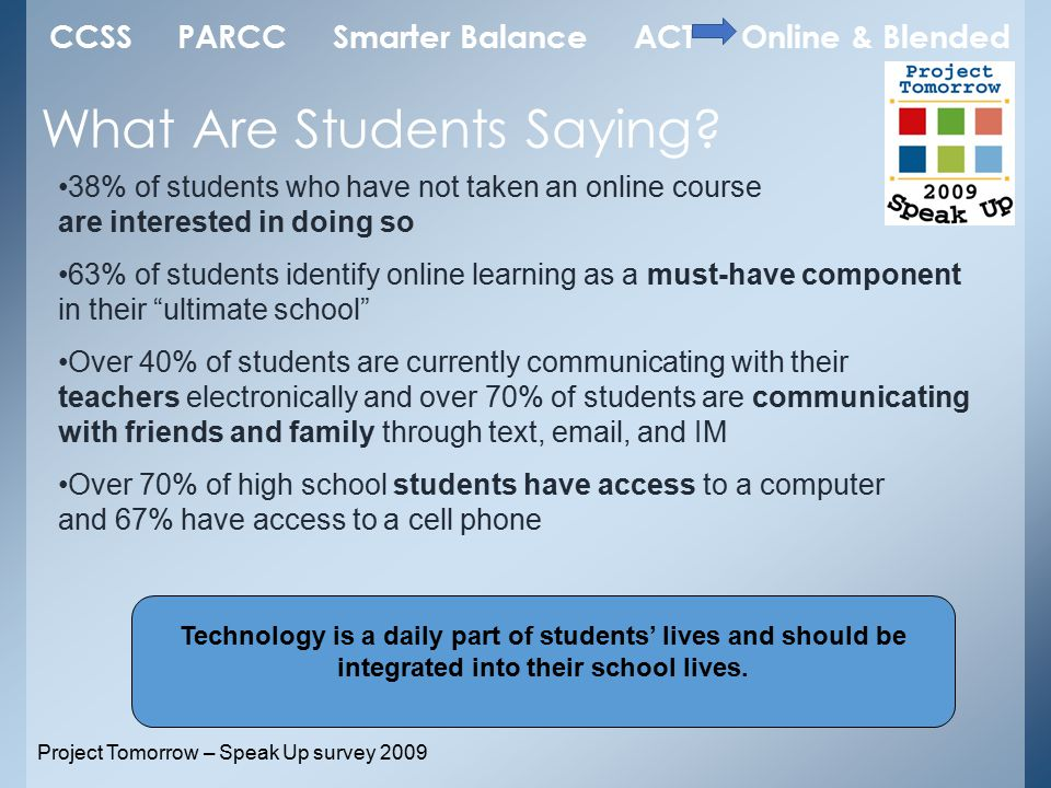 38% of students who have not taken an online course are interested in doing so 63% of students identify online learning as a must-have component in their ultimate school Over 40% of students are currently communicating with their teachers electronically and over 70% of students are communicating with friends and family through text, email, and IM Over 70% of high school students have access to a computer and 67% have access to a cell phone What Are Students Saying.