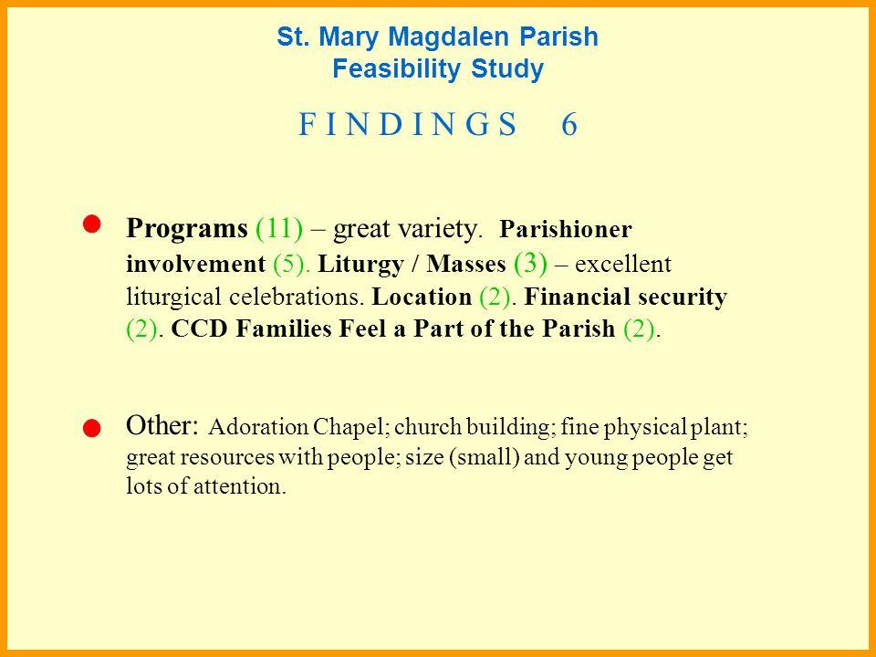 Programs (11) – great variety. Parishioner involvement (5).