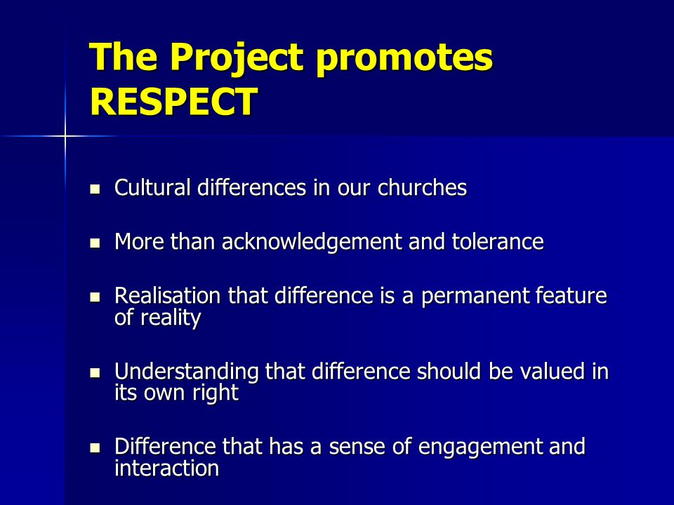 The Project promotes RESPECT Cultural differences in our churches Cultural differences in our churches More than acknowledgement and tolerance More than acknowledgement and tolerance Realisation that difference is a permanent feature of reality Realisation that difference is a permanent feature of reality Understanding that difference should be valued in its own right Understanding that difference should be valued in its own right Difference that has a sense of engagement and interaction Difference that has a sense of engagement and interaction