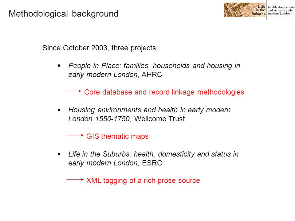 Since October 2003, three projects:  People in Place: families, households and housing in early modern London, AHRC Core database and record linkage methodologies  Housing environments and health in early modern London 1550-1750, Wellcome Trust GIS thematic maps  Life in the Suburbs: health, domesticity and status in early modern London, ESRC XML tagging of a rich prose source Methodological background