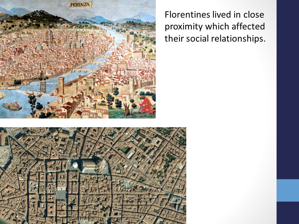 Florentines lived in close proximity which affected their social relationships.