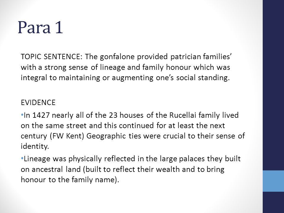 Para 1 TOPIC SENTENCE: The gonfalone provided patrician families' with a strong sense of lineage and family honour which was integral to maintaining o