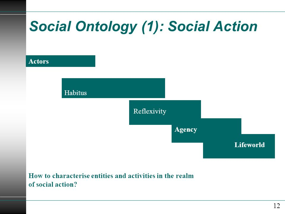 Social Ontology (1): Social Action Actors Reflexivity How to characterise entities and activities in the realm of social action.