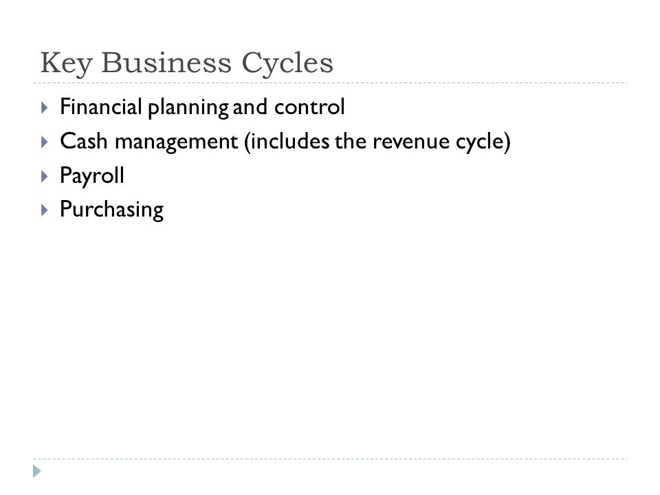 Key Business Cycles  Financial planning and control  Cash management (includes the revenue cycle)  Payroll  Purchasing