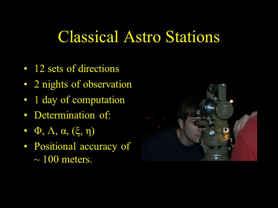 Classical Astro Stations 12 sets of directions 2 nights of observation 1 day of computation Determination of: Φ, Λ, α, (ξ, η) Positional accuracy of ~