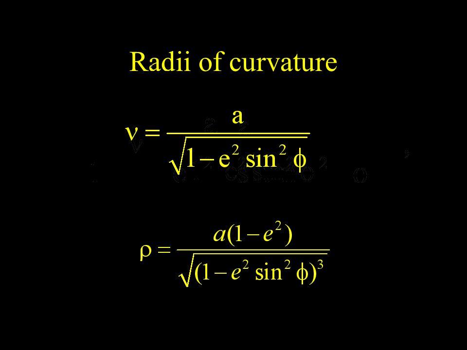 Radii of curvature