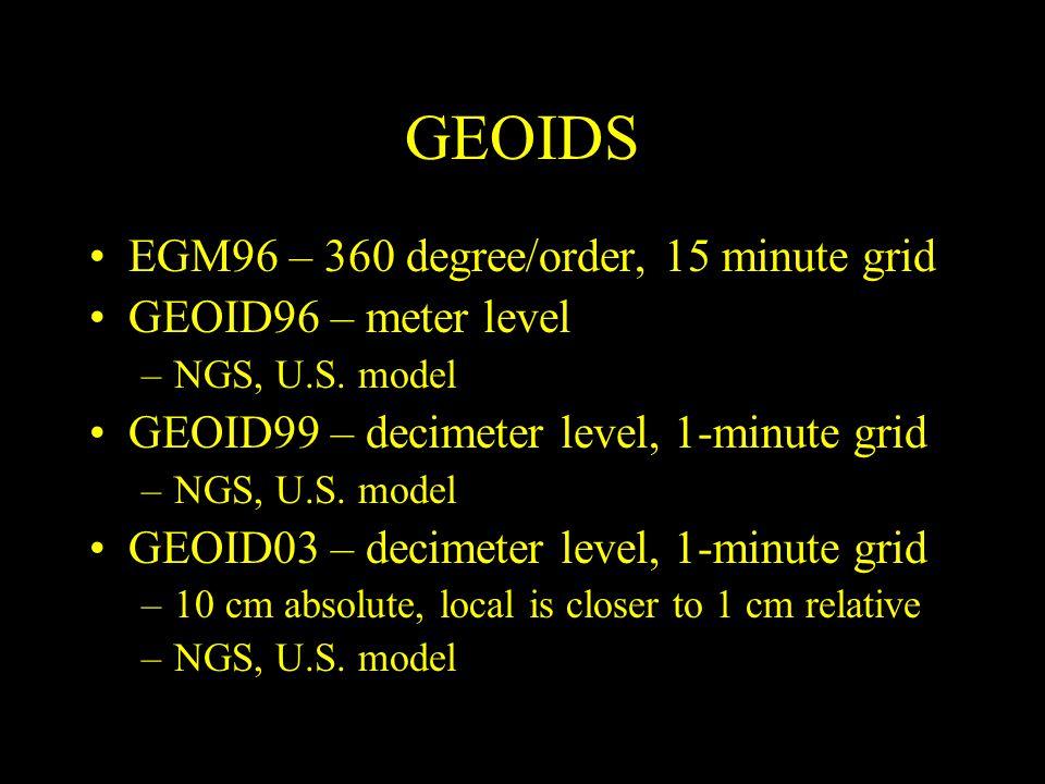 GEOIDS EGM96 – 360 degree/order, 15 minute grid GEOID96 – meter level –NGS, U.S. model GEOID99 – decimeter level, 1-minute grid –NGS, U.S. model GEOID