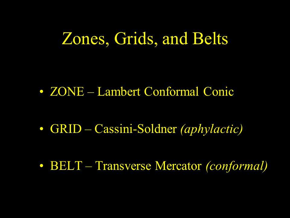 Zones, Grids, and Belts ZONE – Lambert Conformal Conic GRID – Cassini-Soldner (aphylactic) BELT – Transverse Mercator (conformal)