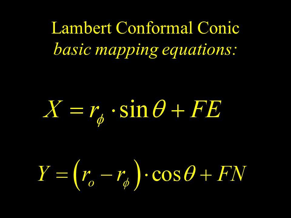 Lambert Conformal Conic basic mapping equations: