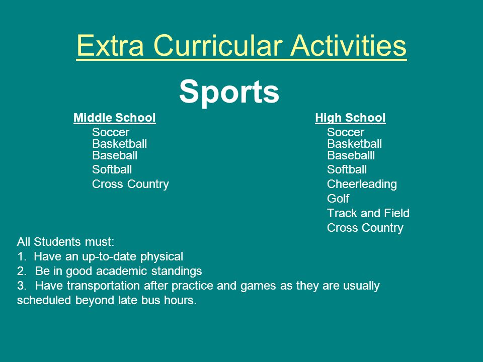 Extra Curricular Activities Sports Middle SchoolHigh School Soccer Soccer Basketball Basketball Baseball Baseballl Softball Softball Cross Country Cheerleading Golf Track and Field Cross Country All Students must: 1.