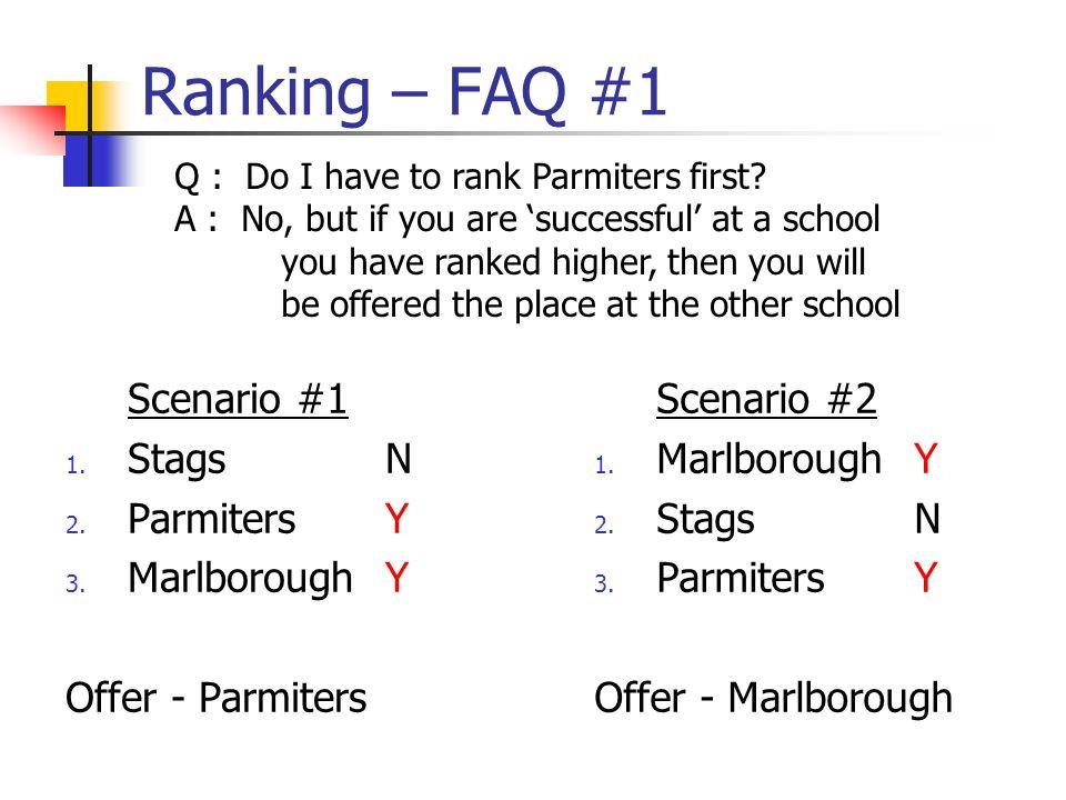 Ranking – FAQ #1 Scenario #1 1. StagsN 2. ParmitersY 3.