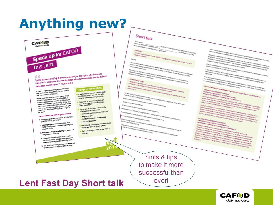 Anything new Lent Fast Day Short talk hints & tips to make it more successful than ever!