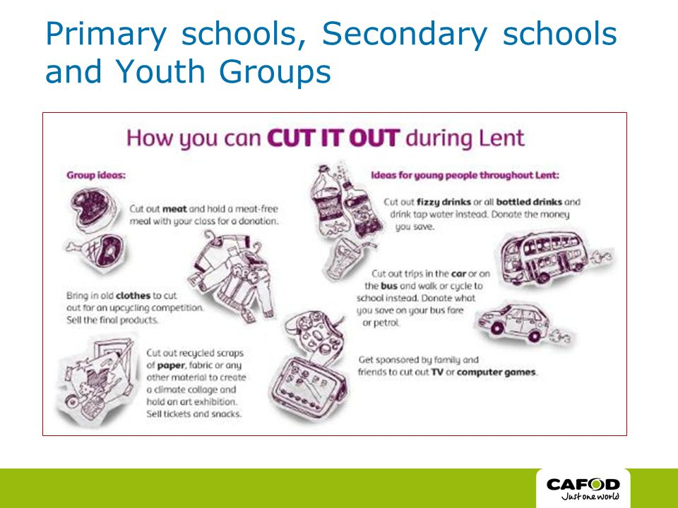 Primary schools, Secondary schools and Youth Groups