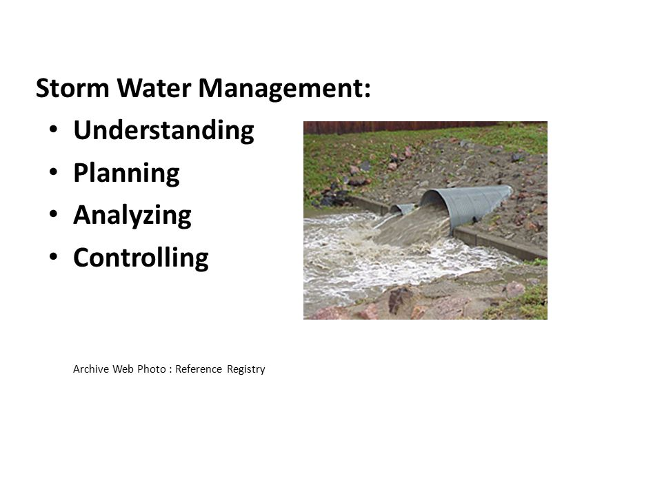 Storm Water Management: Understanding Planning Analyzing Controlling Archive Web Photo : Reference Registry
