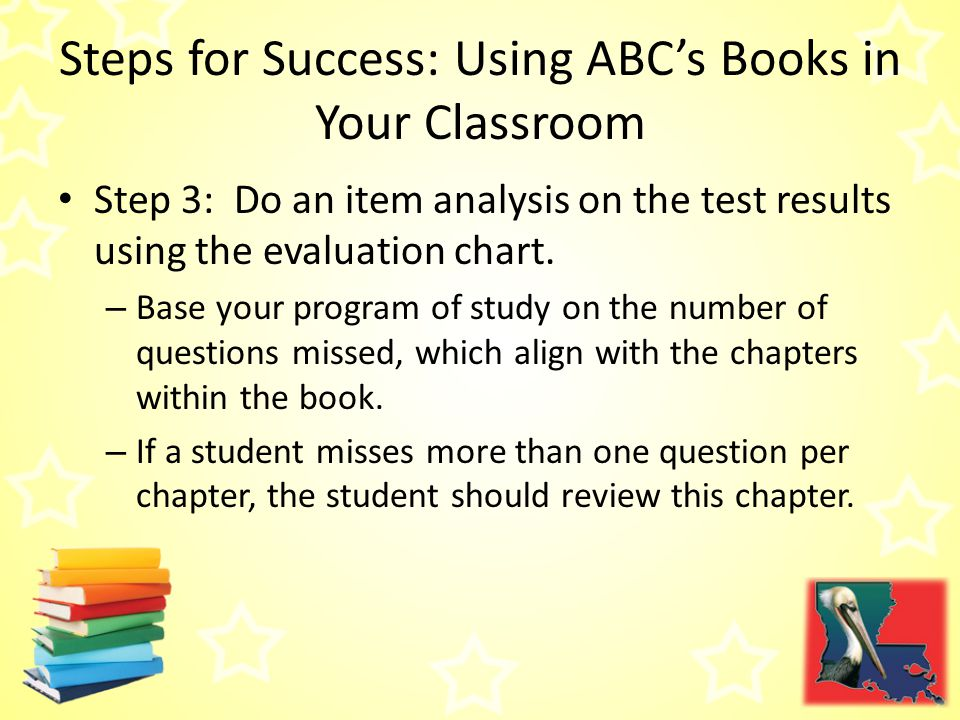 Steps for Success: Using ABC's Books in Your Classroom Step 3: Do an item analysis on the test results using the evaluation chart.