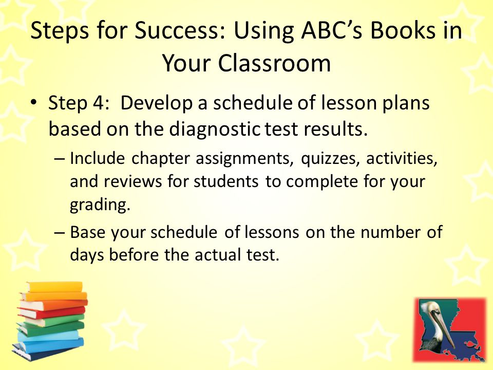 Steps for Success: Using ABC's Books in Your Classroom Step 4: Develop a schedule of lesson plans based on the diagnostic test results.