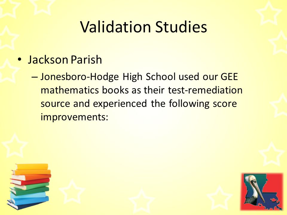 Jackson Parish – Jonesboro-Hodge High School used our GEE mathematics books as their test-remediation source and experienced the following score improvements: