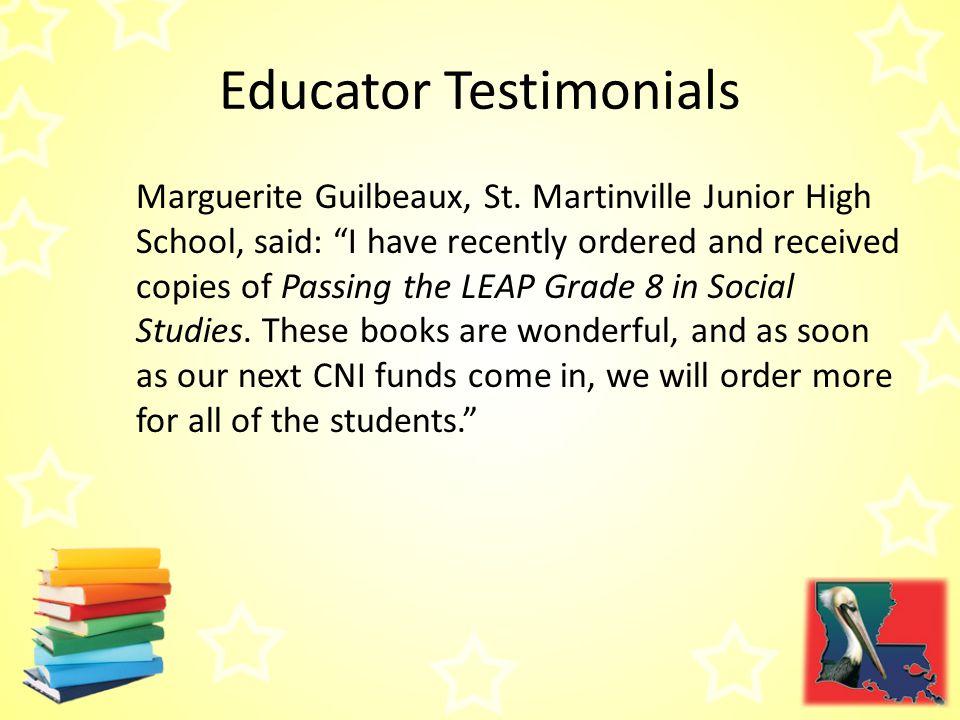 Educator Testimonials Marguerite Guilbeaux, St.