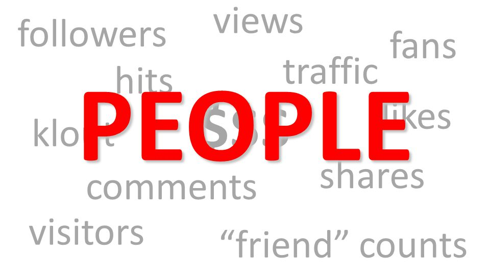 $$$ followers traffic friend counts shares klout likes visitors hits fans comments views PEOPLE