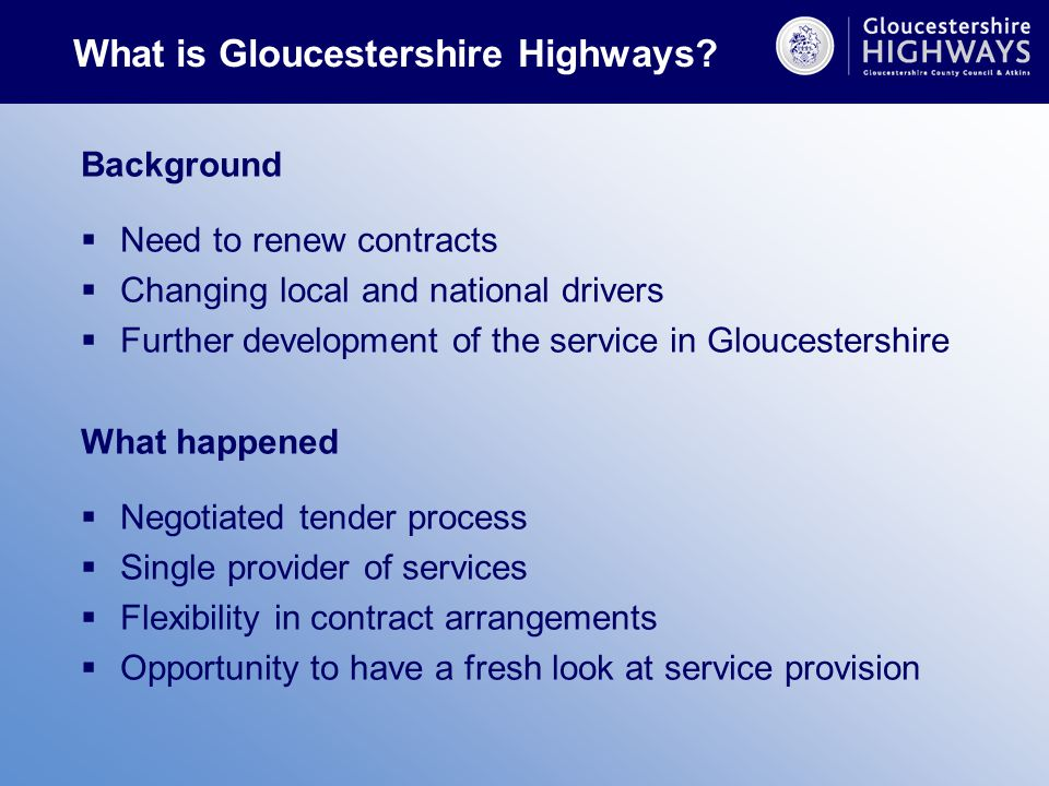 What is Gloucestershire Highways.