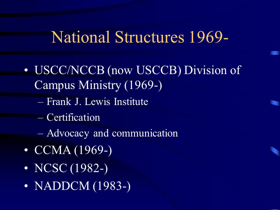 National Structures 1969- USCC/NCCB (now USCCB) Division of Campus Ministry (1969-) –Frank J. Lewis Institute –Certification –Advocacy and communicati