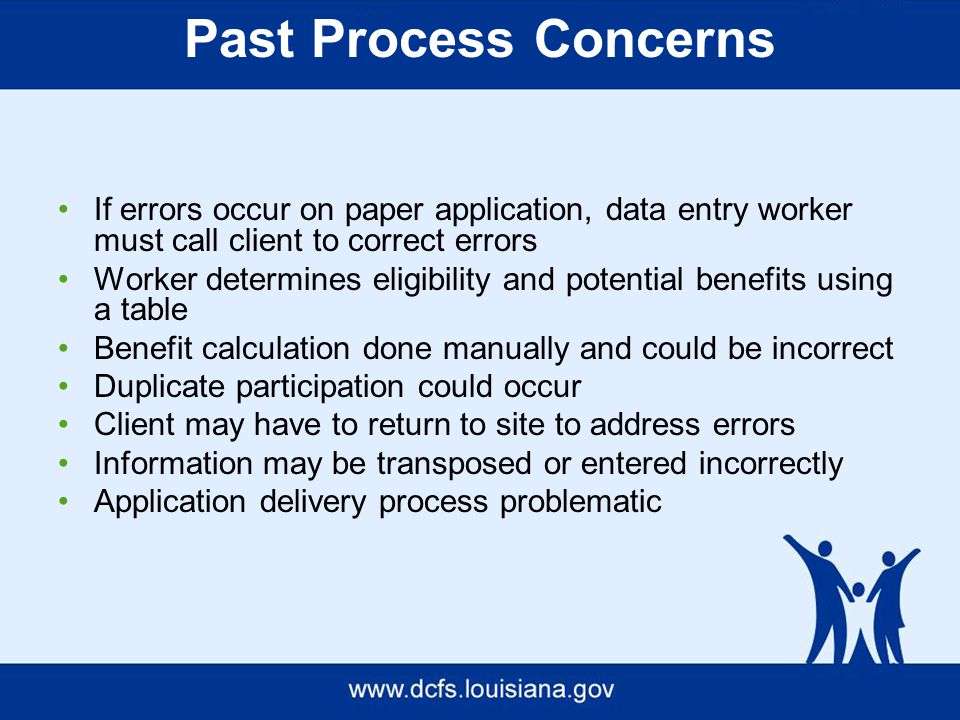 Past Process Concerns If errors occur on paper application, data entry worker must call client to correct errors Worker determines eligibility and potential benefits using a table Benefit calculation done manually and could be incorrect Duplicate participation could occur Client may have to return to site to address errors Information may be transposed or entered incorrectly Application delivery process problematic