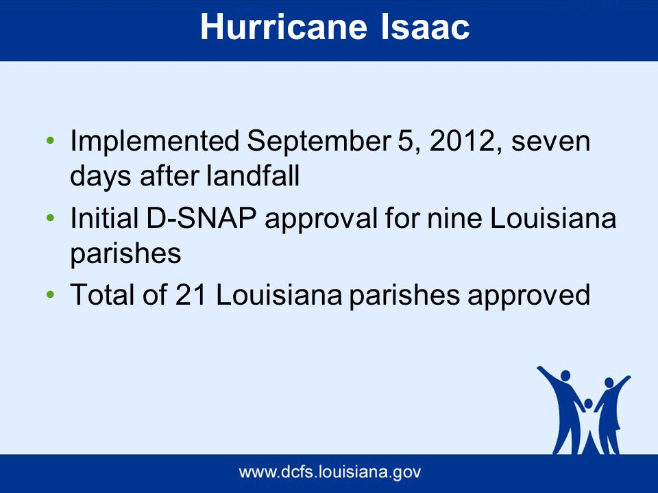 Hurricane Isaac Implemented September 5, 2012, seven days after landfall Initial D-SNAP approval for nine Louisiana parishes Total of 21 Louisiana parishes approved