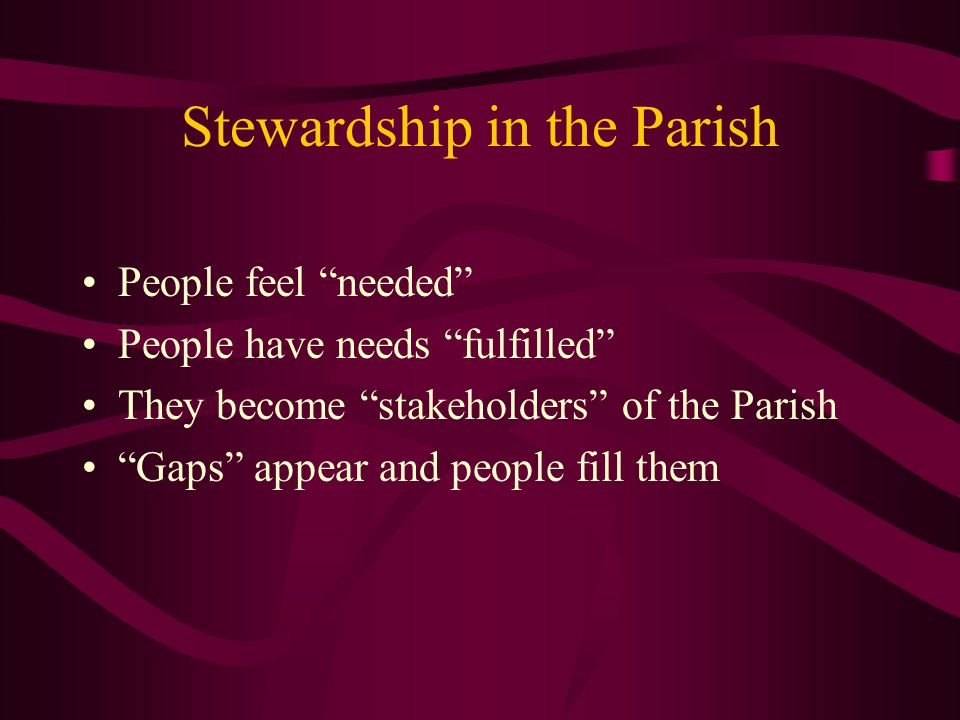 Stewardship in the Parish People feel needed People have needs fulfilled They become stakeholders of the Parish Gaps appear and people fill them
