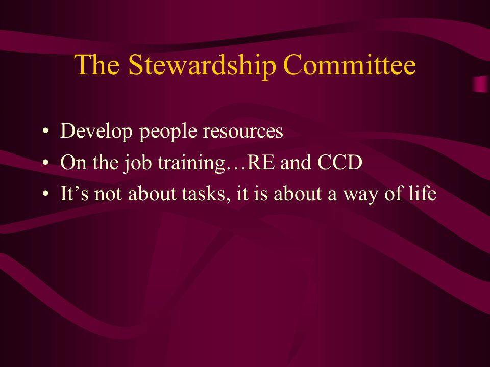 The Stewardship Committee Develop people resources On the job training…RE and CCD It's not about tasks, it is about a way of life