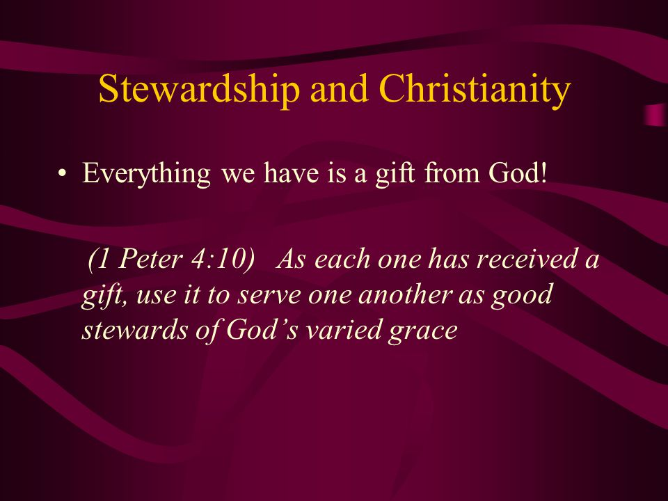 Stewardship the Church We must find our vocation, talent, calling Apply our talents Give due time to the task Pay attention to your guide, the Holy Spirit