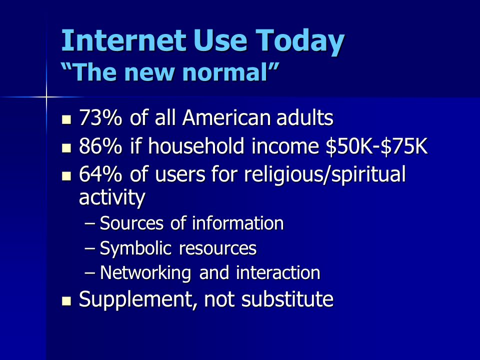 Internet Use Today The new normal 73% of all American adults 73% of all American adults 86% if household income $50K-$75K 86% if household income $50K-$75K 64% of users for religious/spiritual activity 64% of users for religious/spiritual activity –Sources of information –Symbolic resources –Networking and interaction Supplement, not substitute Supplement, not substitute