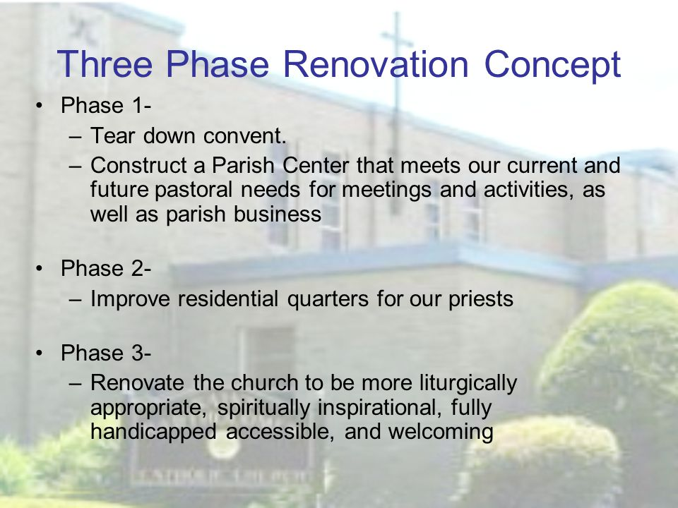Three Phase Renovation Concept Phase 1- –Tear down convent. –Construct a Parish Center that meets our current and future pastoral needs for meetings a